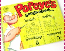 SALE 40% OFF--- POPEYE'S Songs About Health, Safety, Friendship & Manners Recycled / Upcycled Record Album Cover Journal Notebook - Vintage