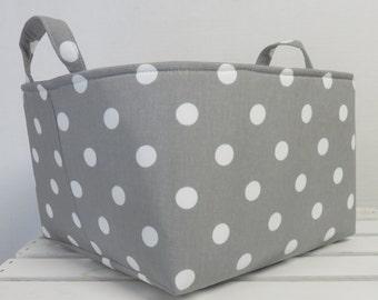 White Dots on Gray / Grey Fabric - Large Diaper Caddy Storage Container Basket Organizer Bin - Nursery Decor - 1 Divider