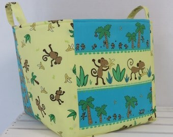 "CLEARANCE/ SALE - Fabric Organizer Bin Toy Storage Container Basket - Funky Monkeys - 10"" x 10"" x 10"" tall"