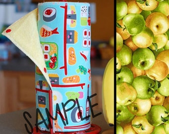 Unpaper Towel | Reusable Paper Towel - Apples (0339600) Tree Saver Towel | Kitchen Towel | Snapping Cloth Paperless Towel & Wet Bag