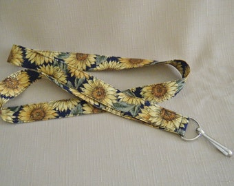 Sunflowers on black - handmade fabric lanyard
