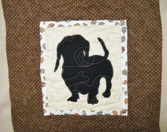 Quilted Dog throw pillow - Dachshund front view