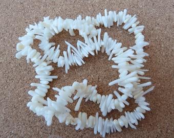 White Stick Coral Beads, White Coral Beads, White Bamboo Coral, White Coral Sticks, White Cupolini, White Branch Coral Beads, Stick Beads