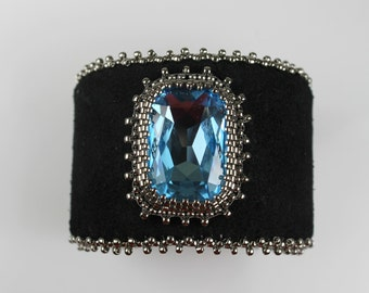 Beaded Jewelry Bead Embroidery Swarovski Black Leather Cuff