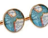San Francisco Cufflinks  Bronze Antique California Map Vintage Globe Cuff Links Gift for Him