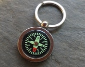 Compass Keychain Chain Ring Traveler Adventure It Works! Fob Key Ring Free US Shipping  Green on Black For Dad or your Groomsmen