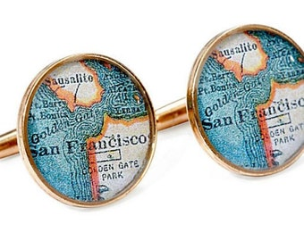 San Francisco Cufflinks  Bronze Antique California Map Vintage Globe Cuff Links for Him Wedding gift for Groom or Dad
