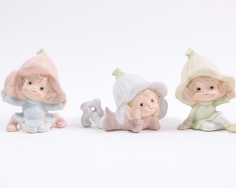 Adorable Vintage Trio of Ceramic Elves and Flower Pixies - Super Cute 1970s ~ The Pink Room ~ 160930