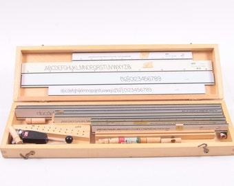 Keuffel & Esser Leroy Lettering Tool Kit Drafting Engineering Letter Set Graphic Design ~ The Pink Room ~ 161012
