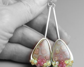 Long Fossil Coral Earrings in 18k Gold, Silver with Pink Sapphire and Welo Opals