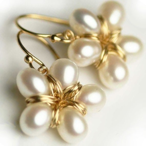 Pearl Flower Earrings - Gold Filled Jewelry-  Pearl Earrings - Pearl Wedding Earrings