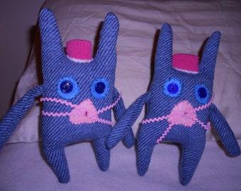 2 Bunny rabbits softie stuffed animal recycled upcycled wool tweed felt flower toy primitive folk art