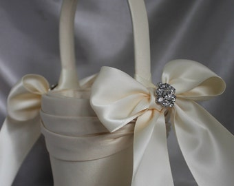 IVORY-Satin Flower Girl Basket with Satin Sash and Satin Bows/Rhinestone Accent-Darker Ivory