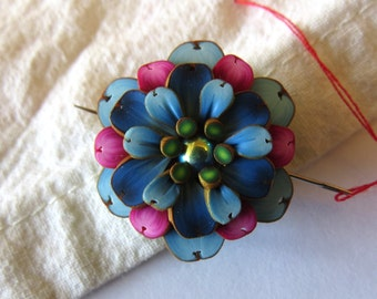 Blue and Pink Flower Needle Nanny, Sewing Needle Buddy, Sewing Accessory, Needle Minder, Sewing Needle Magnet