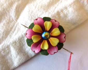 Pink and Yellow Flower Needle Nanny, Sewing Needle Buddy, Sewing Accessory, Needle Minder, Sewing Needle Magnet
