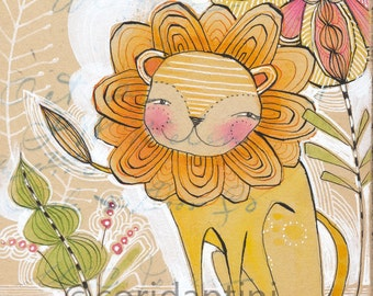 Lion Art Print - Lion - Lion Painting - Nursery Art - Lion Nursery - Nursery Room Decor - Baby Room - lion cub - Baby