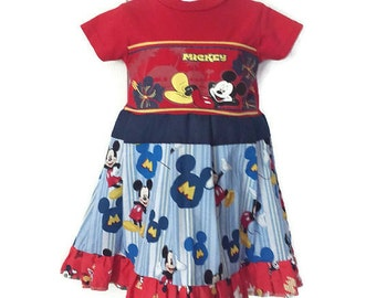 Girls Mickey Mouse! Dress, 12 Months/18 Months, Disney Handmade Dress, Toddler Dress by We Wear What We Want!