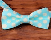 Mens Bow Tie - Cream & Light Turquoise Blue Large Dot Woven Cotton Bow Tie - bowtie for men and teen - wedding bow tie - birthday bow tie