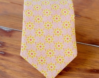 Mens cotton necktie - adult pink and gold star neck tie - necktie for men & teen boys - mens wedding necktie - mens pink gold stars necktie