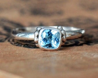 Swiss blue topaz ring, December birthstone ring stackable ring, blue topaz engagement ring cushion cut ring, temple, ready to ship size 7.5