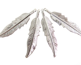 Rhodium Plated Feather Pendants (6X) (R223)