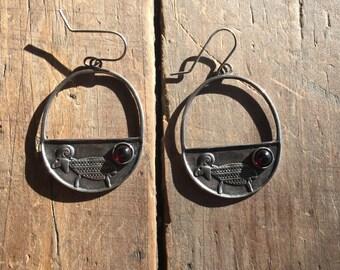 Handmade Silver Moondrop Earrings with Garnet Stone
