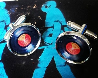 Retro Record - Vinyl Cufflinks (red label)