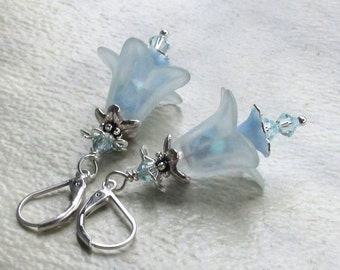 Pale Blue Lucite Flower Earrings, Swarovski Crystals, Silver Accents and Earwires... Serenity