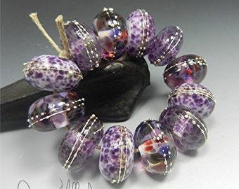 LAMPWORK glass beads handmade artisan beads focal beads Donna Millard lampwork earrings lampwork bracelet purple spring summer sra