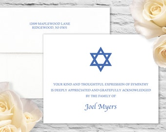 Simple Star of David Sympathy Flat Card with Printed Envelope - White