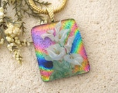 Calla Lily Necklace, Pink Jewelry,  Dichroic Glass Pendant,  Dichroic Glass, Fused Glass Jewelry, Lily Necklace, Glass Jewelry, 010816p103