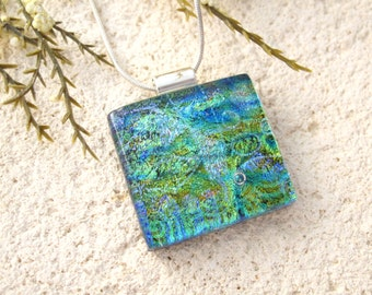 Fused Glass Jewelry, Green Blue Gold Necklace, Dichroic Necklace, Green Multi Colored,  Dichroic Glass Pendant, Silver Necklace,  041916p107