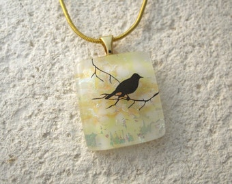 Petite Bird Necklace, Dichroic Glass Jewelry, Yellow Dichroic Necklace, Dichroic Jewelry, Fused Glass Jewelry, Chain Included,  042716p101