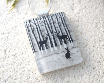 Deer Jewelry, Birch Tree Necklace, Dichroic Jewelry, Dichroic Glass Pendant, Forest Scene, Fused Glass Jewelry, Silver Necklace, 072816p100