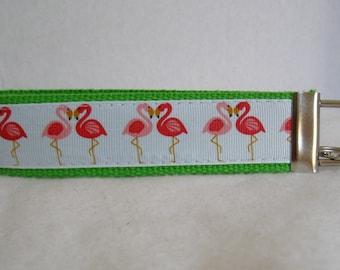 Flamingo Key Fob - LIME GREEN -  Flamingos Key Chain - Tropical Wristlet Keychain