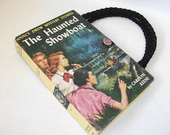 Nancy Drew Book Purse Haunted Showboat Vintage Handbag Upcycled Book Bag