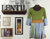 Grass Green, Rust, soft blue funky upcycled tunic
