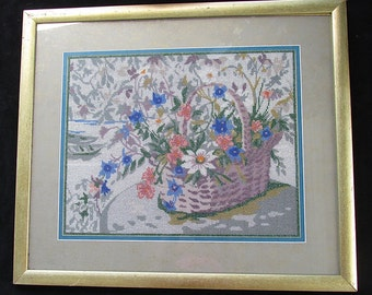 Beaded Tapestry Beadlepoint Handmade Needlepoint Art Framed Under Glass Beadle Point Stitch Wall Decor