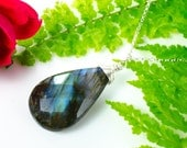Faceted Labradorite Teardrop Silver Necklace