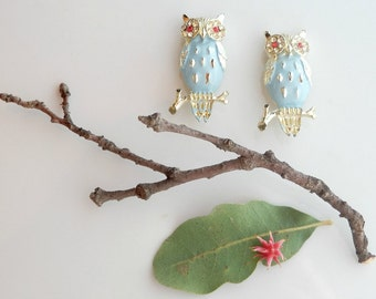 Vintage Enamel Pin Set - Owl Sweater Pins - Midcentury Enameled Brooch - 1950s Scatter Pins