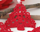 Cottage Chic Red Lace Christmas Tree Ornament, Gift Topper, Crochet Christmas Tree, Holiday Home Decor, Rustic Chic Ornaments, Set of 3