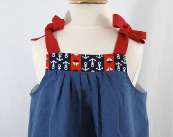 Toddler Dress, Girls Dress, Nautical Dress, Baby Dress, Red, White & Blue Dress with Boats and Anchors, 4th of July Dress