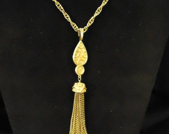 Trifari Signed Long Gold Metal Vintage Necklace and Tassel Chains 1970's Vintage Costume Jewelry