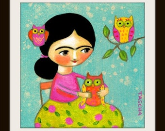 Frida Kahlo with OWLS cute PRINT for nursery baby room wall art little girl bedroom decor by Tascha