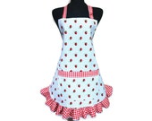 Strawberry Apron for women, Blue and White Check with Red Ruffle , Retro Strawberry Kitchen Decor