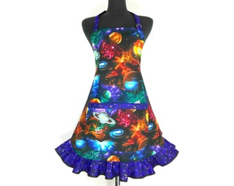 Outer Space Apron, Astronomy, Planets, Galaxies, Sci Fi, Starry Night, Retro Kitchen Ruffle, Geek Girl, Cosmos, Neil deGrasse Tyson inspired