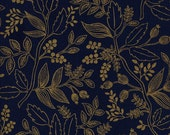 Cotton + Steel Les Fleurs - Queen Anne - navy metallic - fat quarter - PRESALE