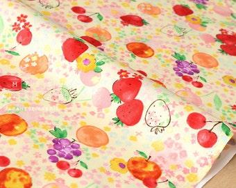 Japanese Fabric Kokka aquarelle fruit - orange, red, metallic - 50cm
