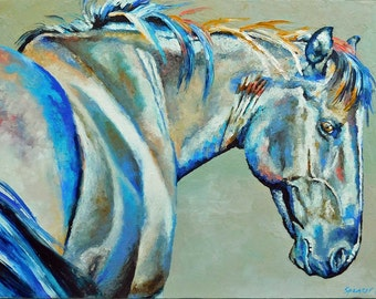 "Original Gray Horse Oil Painting 18""x24"" painted by knife"