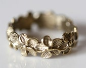 Delicate Yellow Silver Plumeria flower Ring size 5.5 by zulasurfing